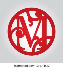 Vector monogram M in round frame. Fancy alphabet initial letter. Digital file for cutting machines, laser or desktop plotter. Wedding monogrammed decoration.