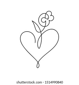 Vector monoline one line flower and heart. Valentines Day Hand Drawn icon. Holiday sketch doodle Design element. love decor for web, wedding and print. Isolated illustration