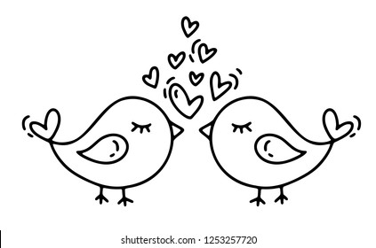 Vector monoline two birds with hearts. Valentines Day Hand Drawn icon. Holiday sketch doodle Design plant element valentine. love decor for web, wedding and print. Isolated illustration.