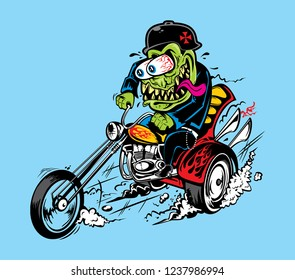 VECTOR MONSTER GREASER HOTROD ILLUSTRATION BIKERS RAT FINK STYLE VINTAGE MOTORCYCLE CHOPPER POSTER