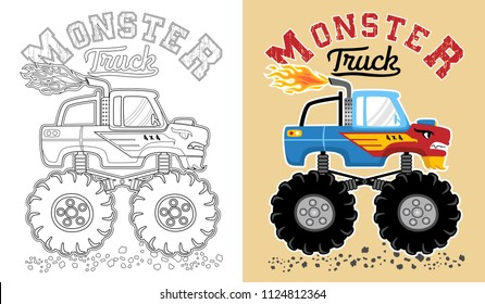 Vector of monster truck cartoon. Coloring book or page