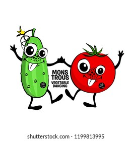 Vector monstrous vegetables  are dancing. Hand drawn illustration of angry cartoon monster. Monstrous cucumber and tomato.