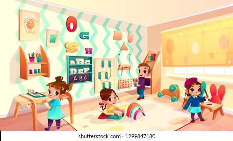Vector montessori room with children, elementary school background with furniture and infant characters. Kindergarten, daycare for kids. Education in drawing, games and activity. Preschool classroom
