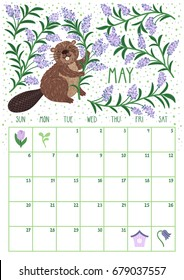 Vector monthly calendar with cute beaver. May 2018. Planning design. Calendar page with smiling cartoon characters.