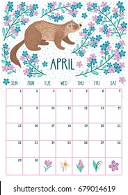 Vector monthly calendar with cute ferret. April 2018. Planning design. Calendar page with smiling cartoon characters.