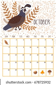 Vector monthly calendar with cute quail. October 2018. Planning design. Calendar page with smiling cartoon character.