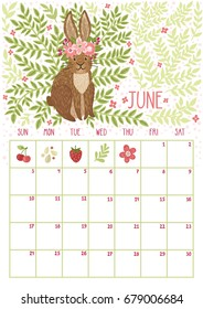 Vector monthly calendar with cute rabbit. June 2018. Planning design. Calendar page with smiling cartoon characters.