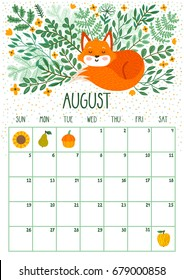 Vector monthly calendar with cute sleeping fox. August 2018. Planning design.Calendar page with smiling cartoon characters.