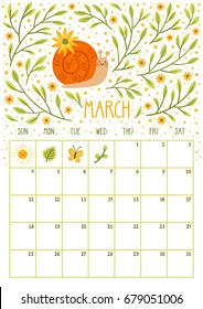 Vector monthly calendar with cute snail. March 2018. Planning design. Calendar page with smiling cartoon character.