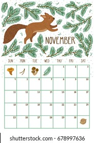 Vector monthly calendar with cute squirrel. November 2018. Planning design. Calendar page with smiling cartoon character.