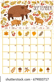 Vector monthly calendar with cute wild boars. September 2018. Planning design. Calendar page with smiling cartoon characters.
