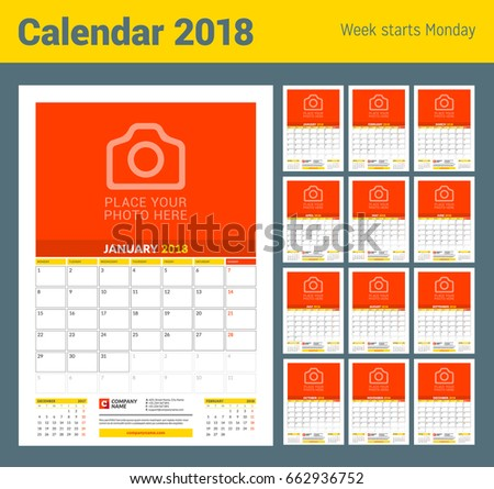 vector monthly calendar planner template 2018 stock vector royalty
