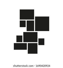 Vector mood board of nine frames. Black photo collage templates.