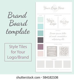 Vector moodboard template with color palette isolated on white background.