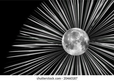 Vector moon illustration and rays