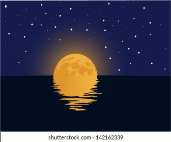 Vector moon over cold night sea with reflection and stars