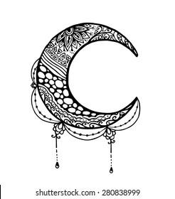Vector of Moon in zentangle style