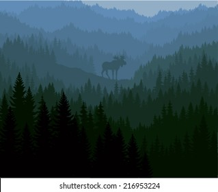 vector moose in mountains