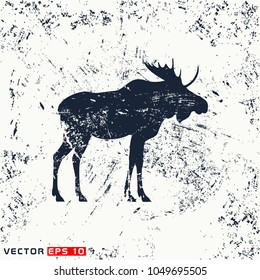 vector moose silhouette on grunge background