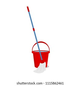 Vector mop cleaning  and red bucket housework tool hygiene