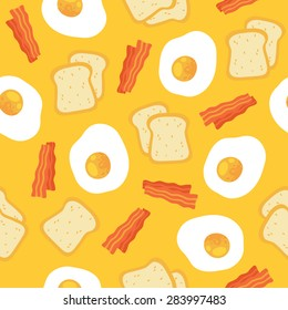 Vector morning breakfast seamless pattern with scrambled eggs, toasts and bacon. Cartoon illustration on yellow background.