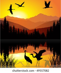 vector morning on  lake with cranes in mountains