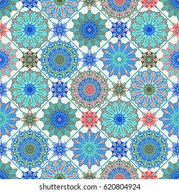 Vector Moroccan Seamless Pattern. Floral Spring or  Summer Wallpaper