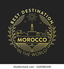 Vector Morocco City Badge, Linear Style