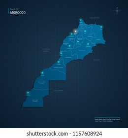 Vector Morocco map illustration with blue neon lightpoints - triangle on dark blue gradient background. Administrative divisions, cities, borders, capital. Neon tech background with glow.