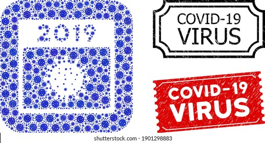 Vector mosaic 2019 covid calendar day and grunge Covid-19 Virus stamps. Mosaic 2019 covid calendar day created as stencil from rounded square with blue bacilla elements.