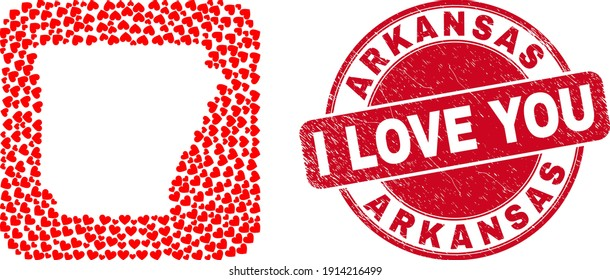 Vector mosaic Arkansas State map of valentine heart elements and grunge love stamp. Mosaic geographic Arkansas State map constructed as carved shape from rounded square with love hearts.