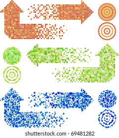 Vector mosaic arrow signs set in different techiques