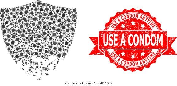 Vector mosaic damaged shield of corona virus, and Use a Condom Anytime scratched ribbon seal. Virus elements inside damaged shield mosaic. Red seal contains Use a Condom Anytime tag inside ribbon.