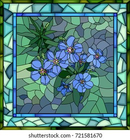 Vector mosaic of flowers blue anagallis in square stained-glass window frame.