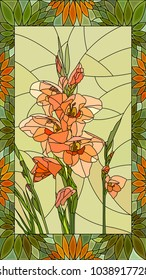 Vector mosaic with flowers pink gladiolus in vertical stained-glass window frame.