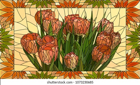Vector mosaic with flowers red tulips in horizontal stained-glass window frame.