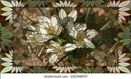 Vector mosaic with flowers white crocuses in horizontal stained-glass window frame.