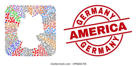 Vector mosaic Germany map of different symbols and Germany America stamp. Mosaic Germany map designed as carved shape from rounded square shape. Red round badge with Germany America word.