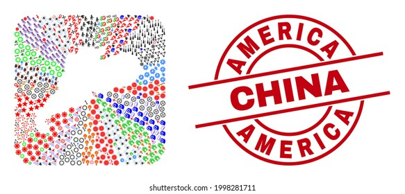 Vector mosaic Guangdong Province map of different pictograms and America China seal stamp. Mosaic Guangdong Province map constructed as carved shape from rounded square shape.