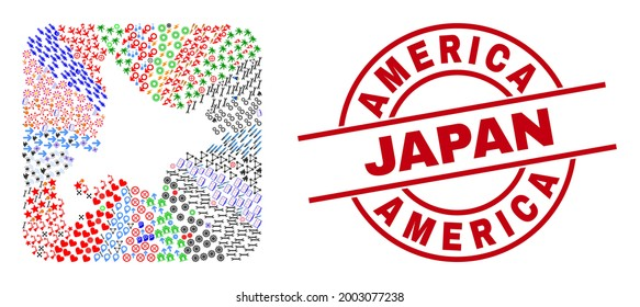 Vector mosaic Hokkaido map of different pictograms and America Japan stamp. Mosaic Hokkaido map designed as stencil from rounded square. Red round stamp with America Japan tag.