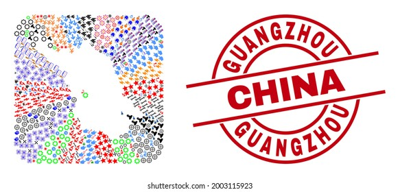 Vector mosaic Jiangsu Province map of different symbols and Guangzhou China badge. Mosaic Jiangsu Province map created as stencil from rounded square. Red round stamp with Guangzhou China tag.