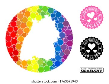 Vector mosaic LGBT map of Baden-Wurttemberg State with circle dots, and Love scratched seal. Subtraction circle map of Baden-Wurttemberg State collage composed with circles in various sizes,