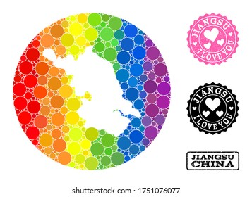 Vector mosaic LGBT map of Jiangsu Province with circle spots, and Love watermark seal. Hole circle map of Jiangsu Province collage formed with circles in various sizes, and rainbow bright color tones.