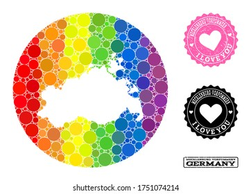 Vector mosaic LGBT map of Mecklenburg-Vorpommern State of round elements, and Love grunge seal stamp. Hole round map of Mecklenburg-Vorpommern State collage composed with circles in various sizes,