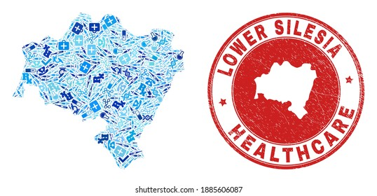 Vector mosaic Lower Silesia Province map of dose icons, test symbols, and grunge health care rubber imitation. Red round stamp with grunge rubber texture and Lower Silesia Province map text and map.