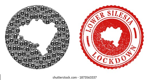 Vector mosaic Lower Silesian Voivodeship map of locks and grunge LOCKDOWN stamp. Mosaic geographic Lower Silesian Voivodeship map designed as carved shape from round shape with black locks.