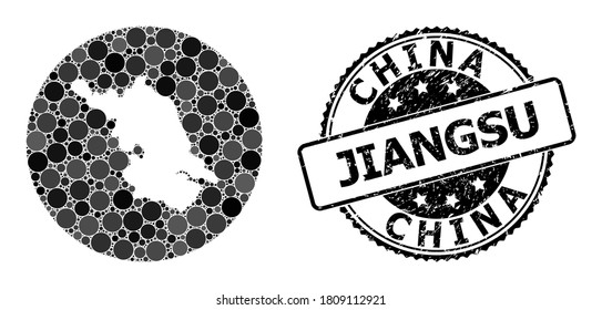 Vector mosaic map of Jiangsu Province with round elements, and grey rubber stamp. Stencil round map of Jiangsu Province collage formed with circles in various sizes, and dark grey shades.
