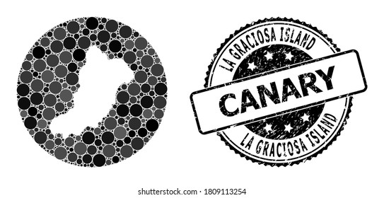 Vector mosaic map of La Graciosa Island of round blots, and grey scratched seal stamp. Hole circle map of La Graciosa Island collage composed with circles in different sizes, and dark grey color hues.