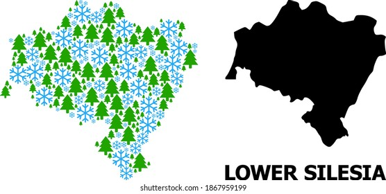 Vector mosaic map of Lower Silesia Province created for New Year, Christmas, and winter. Mosaic map of Lower Silesia Province is created from snow and fir forest.