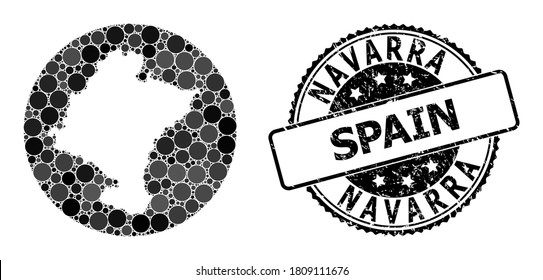 Vector mosaic map of Navarra Province with circle items, and grey watermark seal stamp. Subtraction circle map of Navarra Province collage created with circles in variable sizes, and dark grey shades.